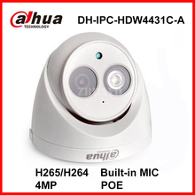 Dahua 4MP Full HD 1080P DH-IPC-HDW4431C-A Network IP Mini Camera POE Built-in Mic CCTV Digital Dome Camera H.265 Indoor Audio IP