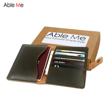 AbleMe New  Women&Men Wallet Multi-function Passport Holder Leather Men Purse With Five Card Holders Hand Made Custom Name