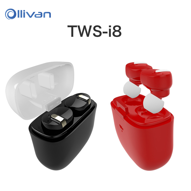New Arrival TWS i8 Sports Bluetooth Headset Stereo Dual Ear Wireless Bass Auricuares In-ear Earphones with Portable Charging Box<br>