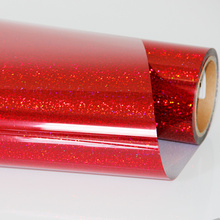 Red  Heat Transfer Vinyl Press Film For Plotter T-shirts Glitter Holographic Iron-on 50cm100cm