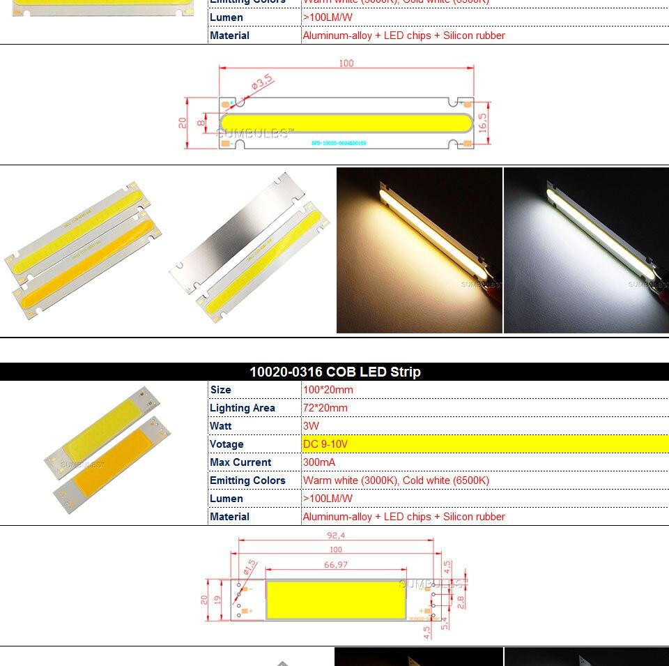 COB LED Strip Light Lamp Bulb 10W 20W 30W 50W Warm Natural Cold White Blue Red Chip On Board LED Matrix Lighting 1-50W (7)