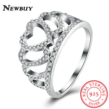 NEWBUY 100% 925 Sterling Silver Hearts Tiara, Clear CZ Women Finger Ring Compatible with Original Jewelry