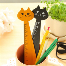 3 Piece Lytwtw's New Cat Straight Ruler Wooden Kawaii Tools Stationery Cartoon Drawing Gift Korean Office School Kitten 2 Colors(China)
