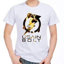 Men's Short sleeve t-shirt Usain Bolt Jamaica UGO 200 100-metre dash world records Olympic Champions 100% cotton tshirt jersey