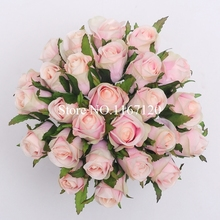 Free Shipping,Hot sale 26 Heads/Bunch Light pink Artificial Silk Flower Roses Posy DIY Wedding Bridal Bouquet Flowers 25cm(HT36)