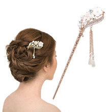 Women Elegant Secluded Orchid Bobby Pin Fashion Hairpin Rhinestone Hair Stick