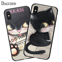 DAGUDON Soft TPU Case For iPhone X Cute Cartoon Silicon Back Cover Ultra Thin Cat Rubber Case For iPhoneX Protective bag Coque(China)