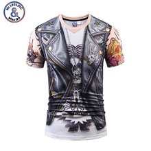 Brand New Clothing Summer Fashion 3D Print T shirt Fake Two Piece T-shirt Skull Tattoo Funny Fitness Tshirt For Men's Tops Tees(China)