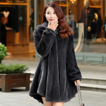 80cm long large size 2016 new full leather mink fur mink coat women's hooded outerwear coats winter clothing D23