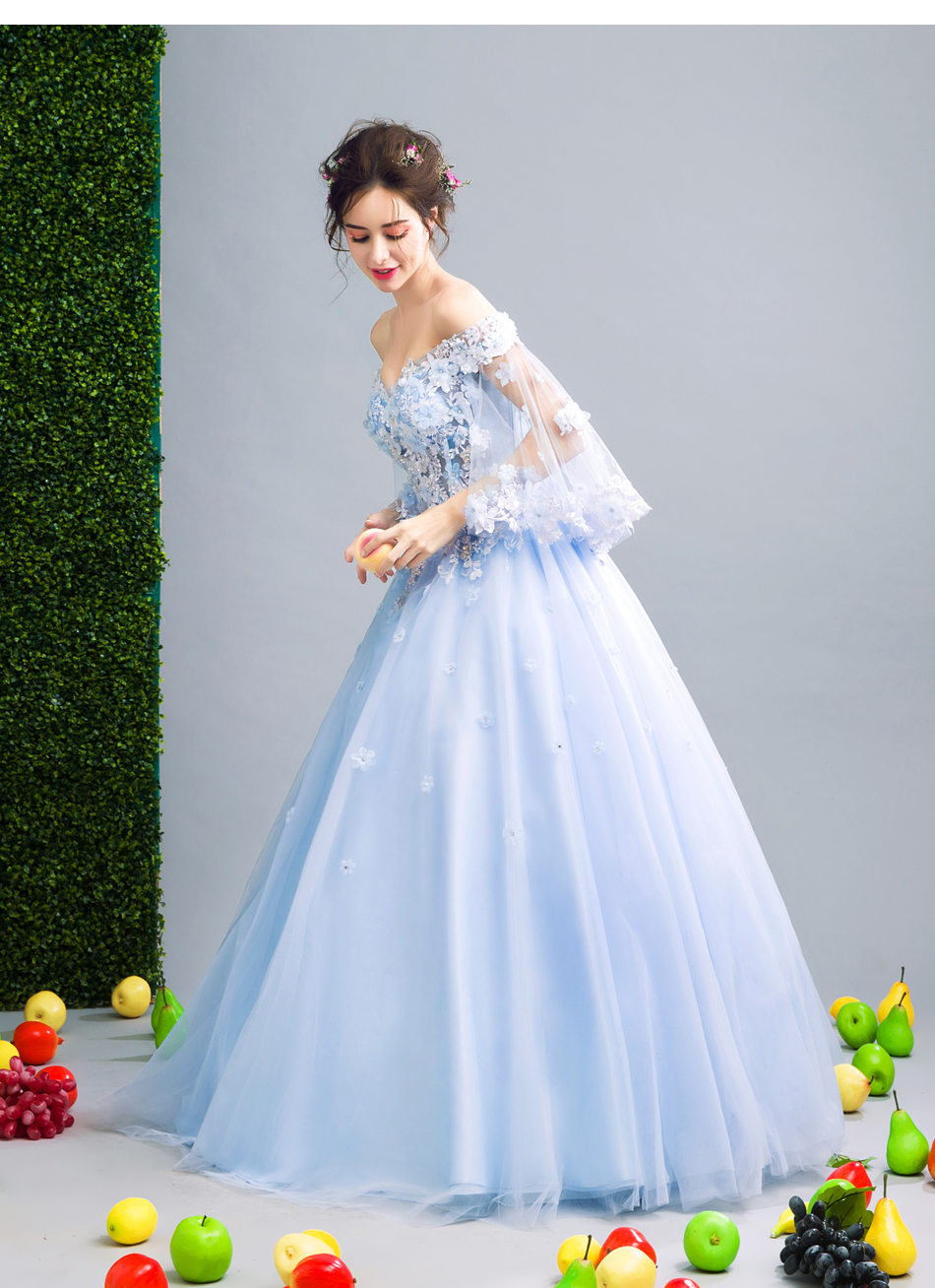 Angel Wedding Dress Marriage Bride Bridal Gown Vestido De Noiva Fairy, blue, handmade petals 2017 257 18