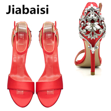 Jiabaisi shoes women sandal Satin Luxury Diamonds heels 4Inch Stiletto Dazzling Crysta Party Large Size Classics heels Hot sale