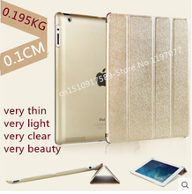 Nice quality+supper slim+transparent back+pu leather magnetic smart case for ipad 2 3 4 cover case thin slim skin shell(China)