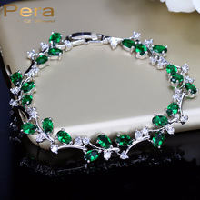 Buy Pera 6 Colors Options Sterling Silver 925 Green Stone Leaf Flower Big Cubic Zirconia Charm Bracelets Jewelry Women B043 for $6.94 in AliExpress store