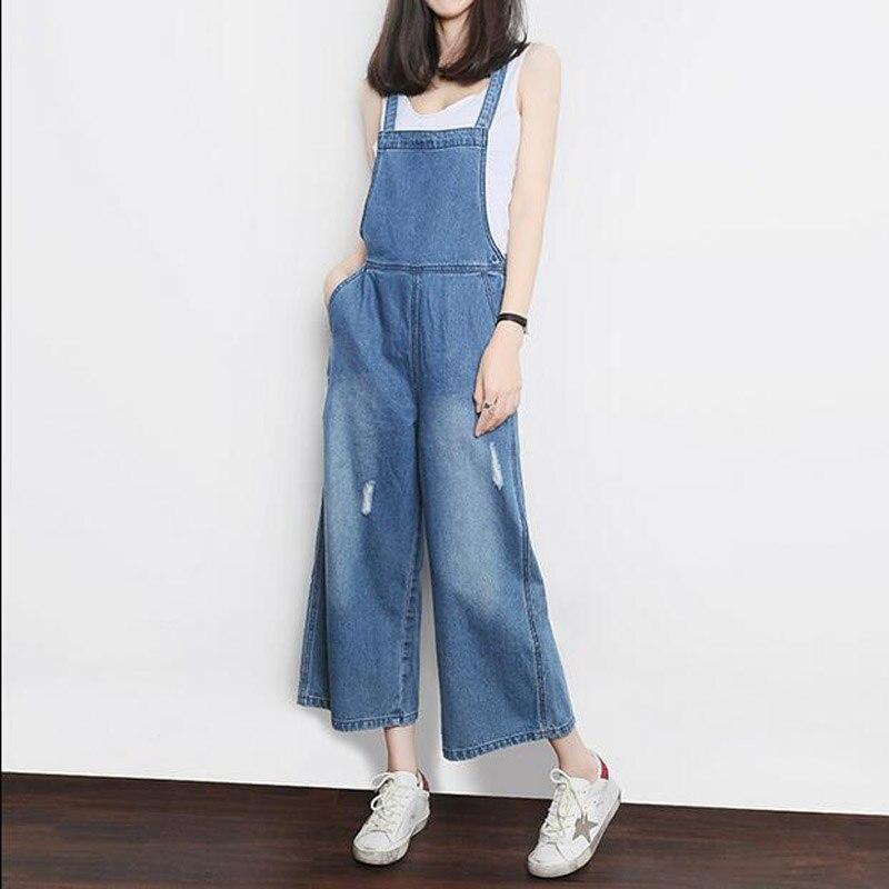 New Arrival Women Fashion Denim Bib Pants High Waist Loose Jeans Female Casual Boot Cut Pants Denim OverallsÎäåæäà è àêñåññóàðû<br><br>