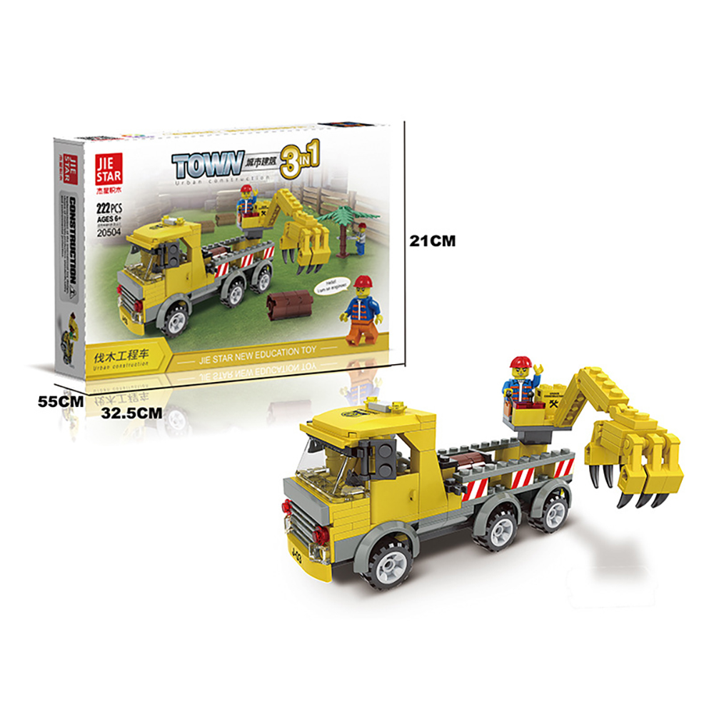 222PCS Puzzle JIE STAR Toy building block for children Urban construction truck trailer series Logging truck 20504(China (Mainland))