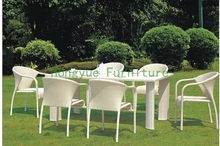 pe rattan dining set furniture(China)