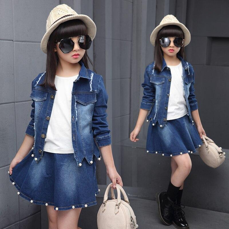 Spring new fashion casual big girl denim jacket + denim skirt three sets<br>