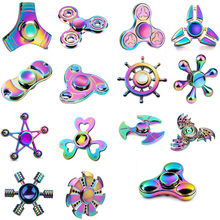 Rainbow Hand Spinner Fidget Spinner Stress Cube Hand Spinners Focus And ADHD EDC Anti Stress Toys Fashion Tri -spinners K2612