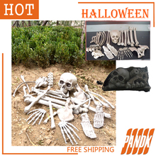 28Pcs Bag of Bones Halloween Skull Skeleton Decorations Holiday Props Haunted house Plastic Realistic Skull head Horror props