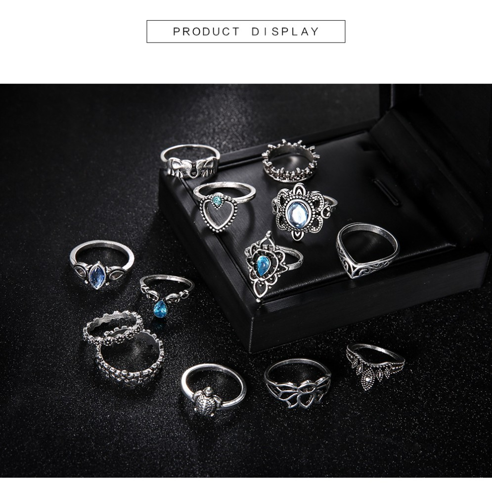 Bague Femme Vintage Rings for Women Boho Geometric Flower Crystal Knuckle Ring Set Bohemian Midi Finger Jewelry Silver Color 45