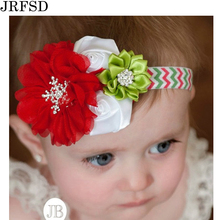 JRFSD A Cute Newborn Headband Pearl Rose Flower Hair Band Chiffon Headband Ribbon Elasticity Hair Accessories Headwear