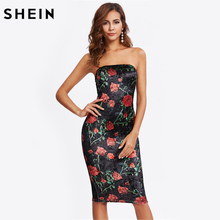 Buy SHEIN Flower Crushed Velvet Tube Dress Black Strapless Sexy Club Dresses Sleeveless Floral Elegant Knee Length Pencil Dress for $9.97 in AliExpress store
