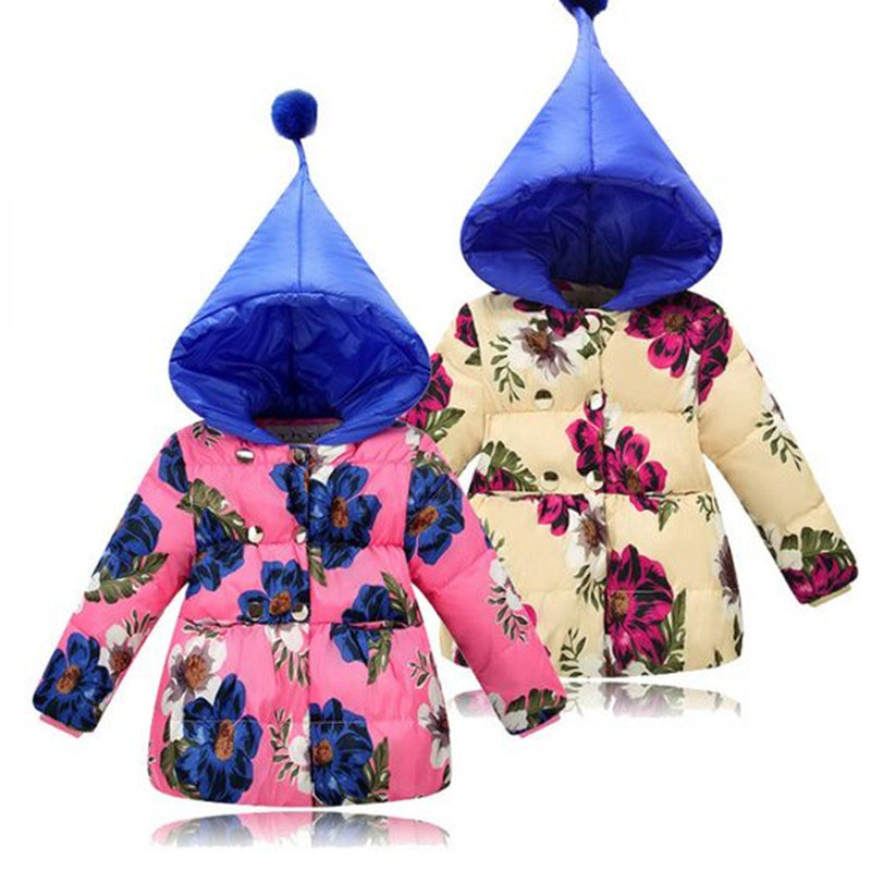 Christmas Winter Down Jacket Girl 2017 New Fashion Hooded Cuet Floral Children Down Jacket Girl Winter warm Down Coat 3-5yearÎäåæäà è àêñåññóàðû<br><br>
