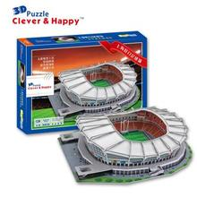 3D puzzle DIY toy paper building model China sport football soccer Shanghai Hongkou Stadium assemble game hand work kid gift set