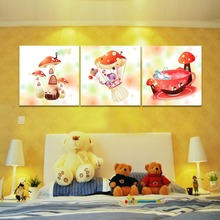 3 Piece Mushroom House Canvas Print Wall Art Cartoon Picture Home Decor Painting For Children Room