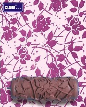 [Rose pattern]DIY 6″inch soft rubber roller pattern 150mm wood grain wall paint roller tools GR-03