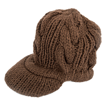 Women Slouchy Cabled Pattern Knit Beanie Crochet Rib Hat Warm - Brown(China)
