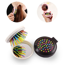 7 Colors Foldable mini Comb Magic Hair Brush Hair Salon Comb Rainbow Hairbrush Fashion Comb Anti-tangle Brush Massage