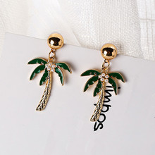 2017 Hot Sale Fashionable Drop Oil Dangle Earrings Personality Cactus Coconut Tree Shape Pendientes Drop Earrings For Girl