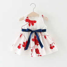 The new fashion trends in the summer new style children's clothing in Europe and the United States style beautiful bow simple dr