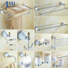 64 CD Series Chrome Polish Brass & Diamond Wall Mounted Bathroom Accessories Sets Towel Rack Hook Paper Holder Soap Dish