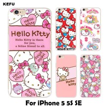 Soft silicone TPU for coque iPhone 5S case 5 5S SE Hello kitty cover 2016 new arrivals for fundas iPhone 5S case(China)