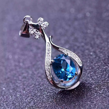 natural blue topaz stone pendant S925 silver Natural gemstone Pendant Necklace trendy identity Music Pipa women party jewelry(China)
