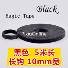 1PCS YT496 BLACK Hookloop Nylon Fastening Tape Magic Tape Strap Wide 10 mm Long/Short Hook Back to Back Cable Tie 5 Meters(China)
