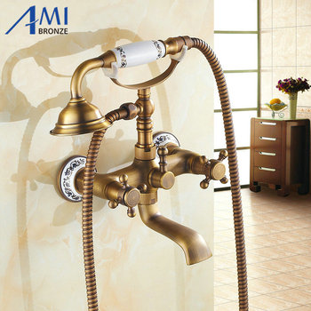 2 Way Wall Mounted Antique Brush Brass Bathtub Faucets Bathroom Basin Mixer Tap With Hand Shower Head Bath & Shower Faucet