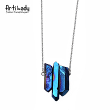 Artilady 3pcs crystal pendant necklaces silver chain quartz stone necklace women jewelry QM