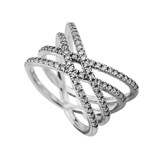 Rings 100% 925 Sterling-Silver-Jewelry Cosmic Lines Ring with Clear CZ Newest Rings for Women DIY Jewelry FLR146(China)