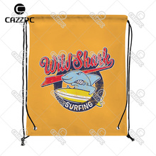 Retro Yellow Cute Surfing Shark Print Custom individual Nylon fabric Drawstring Backpack gift bag