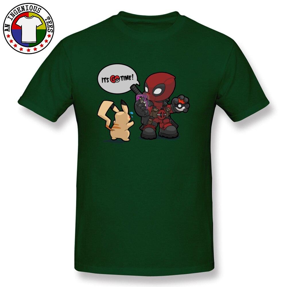 Tops & Tees Deadpool Pokemon GO time 1226 Summer Short Sleeve 100% Cotton Crewneck Man Top T-shirts Leisure Clothing Shirt Plain Deadpool Pokemon GO time 1226 dark