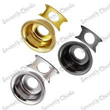 3 Pcs Metal Round Cup Guitar Jack Plates JackPlate Cover for Electric Guitar W/Retainer Clip - Chrome- Black - Gold