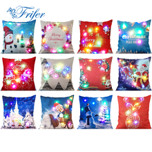 45x45cm LED Lights Christmas Pillow Cover Cases Xmas Luminescent Snowman Cushion Covers Pillowcase Navidad New Year Home Decor(China)