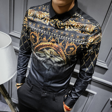 Buy Mens Gold Shirts Social Club Shirt 2017 Autumn Luxury Baroque Shirts Camisa Slim Fit Black Gold Mens Designer Shirts 3XL for $26.54 in AliExpress store