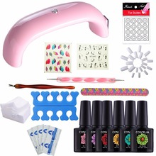 Pink LED Lamp Kit 6Pcs Soak off UV Gel Nail Polish With Nail Brush Gel Remover Pad White Nail Tips Sticker Nail Art Decoration(China)