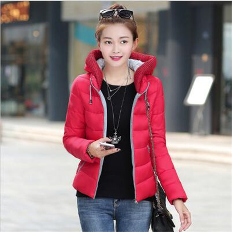 2017 New Fashion Winter Cotton Jacket women   Silm Hooded Big Yards Jacket Pure Color Thicken Warm  Short Jacket Outerwear A1087Одежда и ак�е��уары<br><br><br>Aliexpress