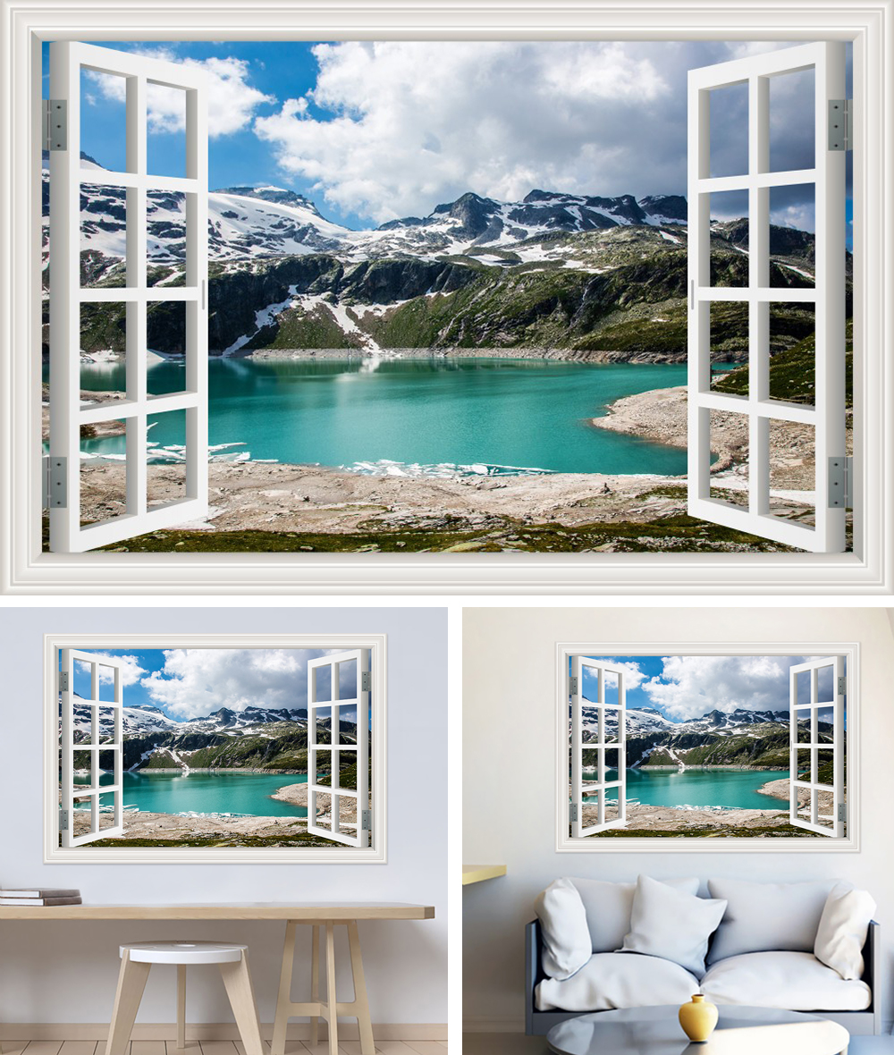HTB12v2Fh8DH8KJjy1zeq6xjepXaY - Modern 3D Large Decal Landscape Wall Sticker Snow Mountain Lake Nature Window Frame View For Living Room