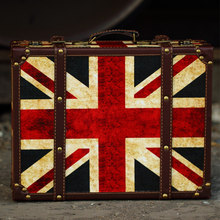 Retro Creative Flag Wooden Portable Luggage Storage Travel Box Craft Coffee Shop Ornament Suitcase Props Home Decoration